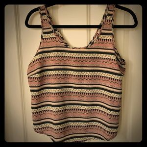Tribal type printed tank top w/ zipper back